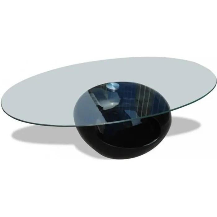 table basse en verre et noir laque