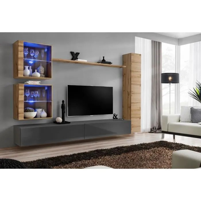 meuble tv chene gris