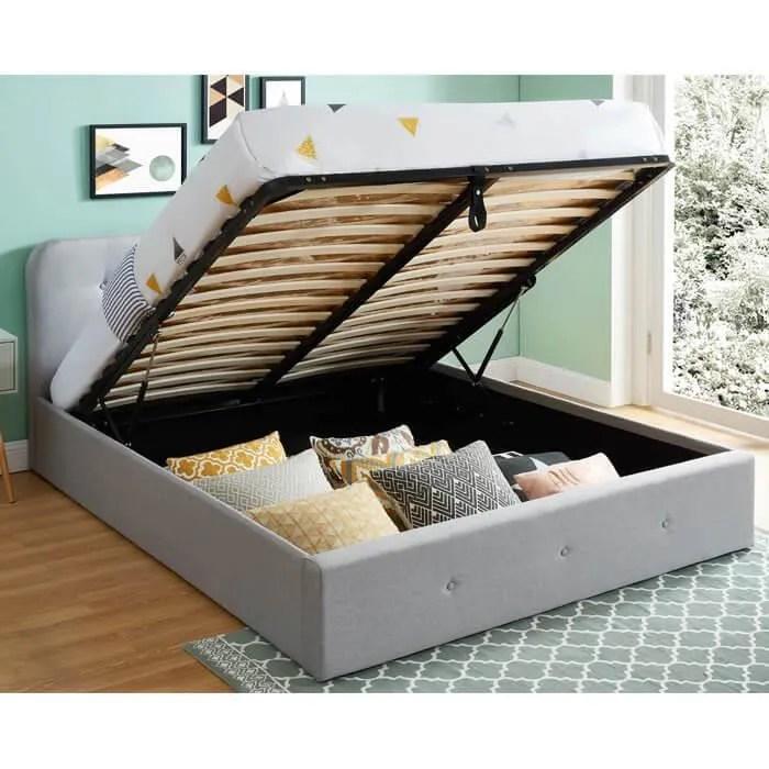 lit coffre 160x200cm gris clair avec