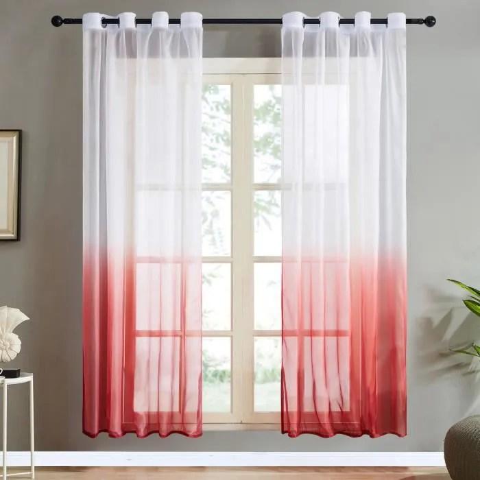 2pcs rideaux voilage noel 140x220cm rouge en deg
