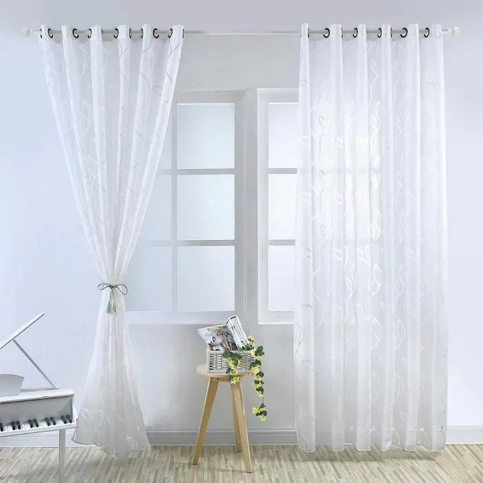 rideau voilage 100x250 cm blanc