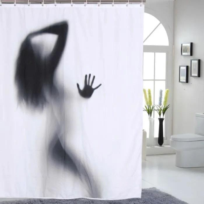 rideau de douche curtain decoration salle de bain anti moisissure polyester impermeable imprime femme ombre 150 180 blanc et noir
