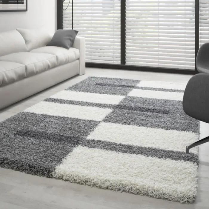 tapis shaggy design pile longue gris et blanc