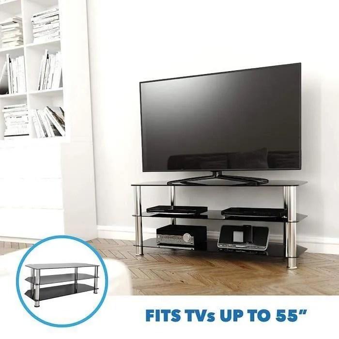 meuble tv en verre noir pour ecran 20