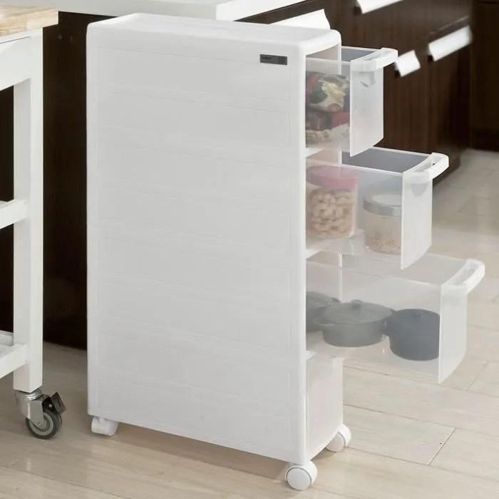 sobuy frg41 w chariot pour rangement cuisine salle de bain etagere armoires de cuisine sur roulettes 4 tiroirs blanc