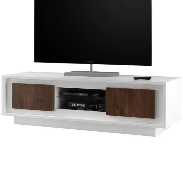meuble tv 2 portes blanc chene fonce rimini l