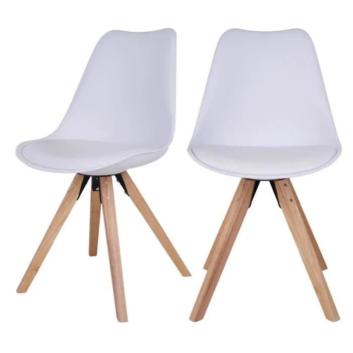 lot de 2 chaises scandinaves umbreta blanc pieds en bois galettes d assise tapissees