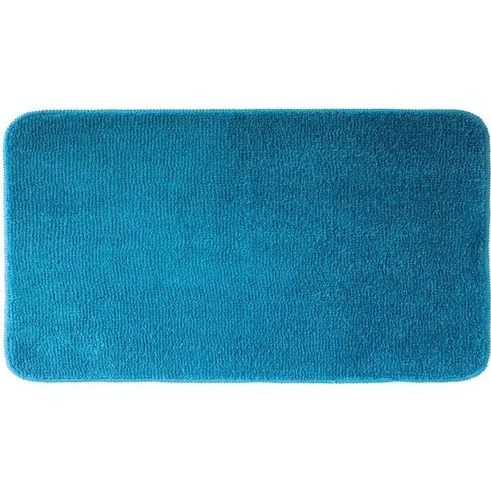 tapis de bain smooth moelleux bleu 50 x 100 cm