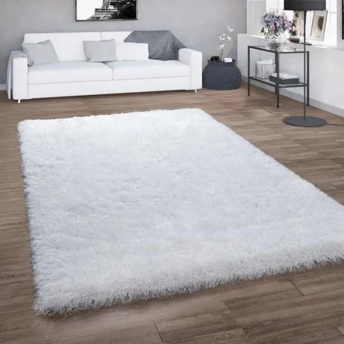 tapis poils longs pour salon shaggy avec fil brillant uni blanc 240x340 cm