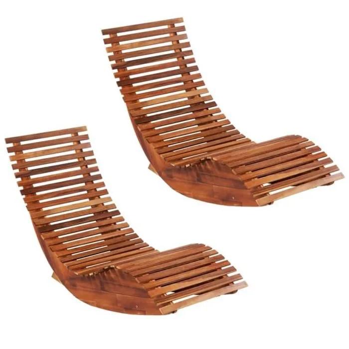 eto chaises longues basculantes 2 pcs bois d acaci