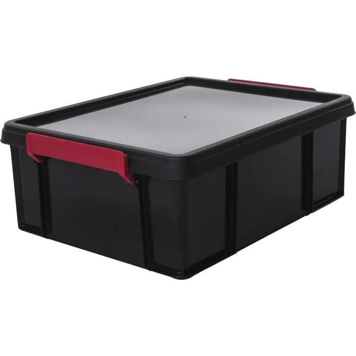 boite de rangement plastique noire avec couvercle