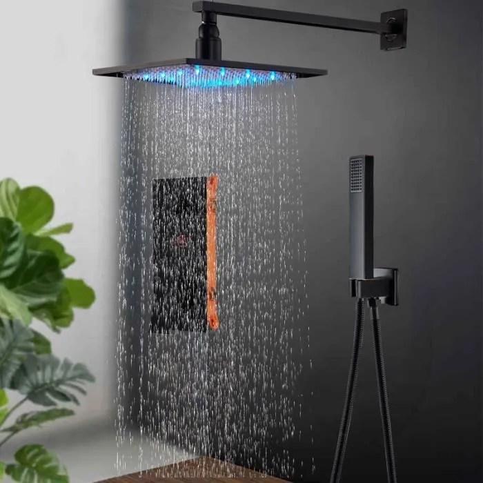robinet de douche led salle de bain noir mat douch
