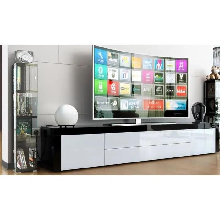 meuble tv noir laque blanc et noir