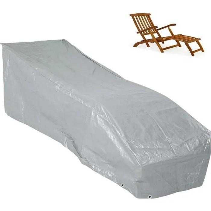 kingsleeve bache de protection housse pour chaise longue bain de soleil grise pe resistant aux intemperies dechirures