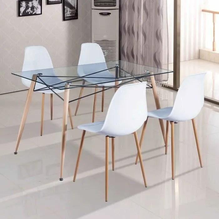 table a manger en verre avec 4 chaises scandinaves