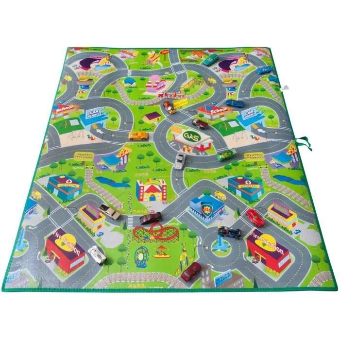 tapis de sol jeu circuit enfant voiture geant 1m20 sur 1m lavable