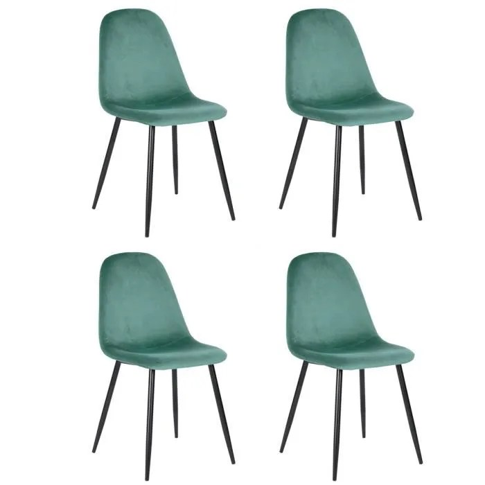 lot de 4 chaises scandinave fauteuil industriel velours vert pied metal salle a manger cuisine salon bureau chambre