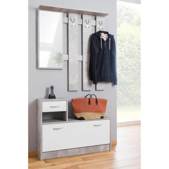 meuble d entree avec etagere a chaussures et miroir cm 100 x 25 h180 style et design contemporain blanc et gris