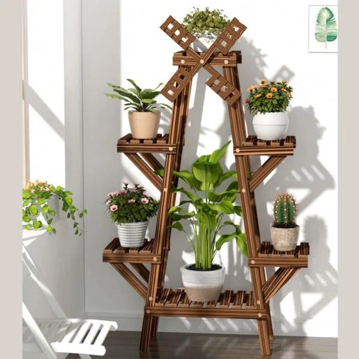 support de plante en bois interieur jardiniere ext
