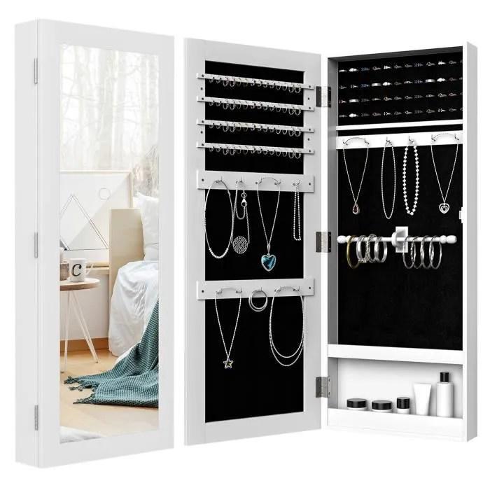 costway armoire a bijoux mural avec miroir 35 2 x 9 2 x 88 2 cm rangement pour bagues boucles d oreilles bracelets en mdf