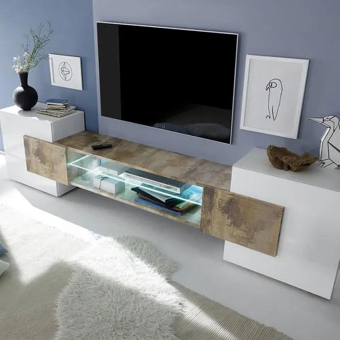 meuble tv design blanc et couleur bois luxor 3 sa