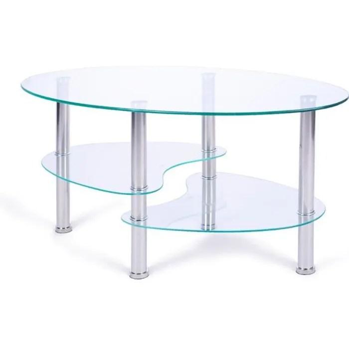 nidouillet table basse ronde avec plateau en verre
