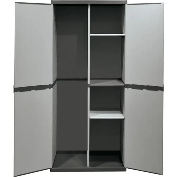 armoire a balais haute avec deux portes en plastique pour l exterieur et le jard