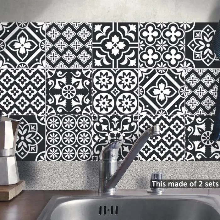 cuisine autocollants noir blanc salle bain carrel