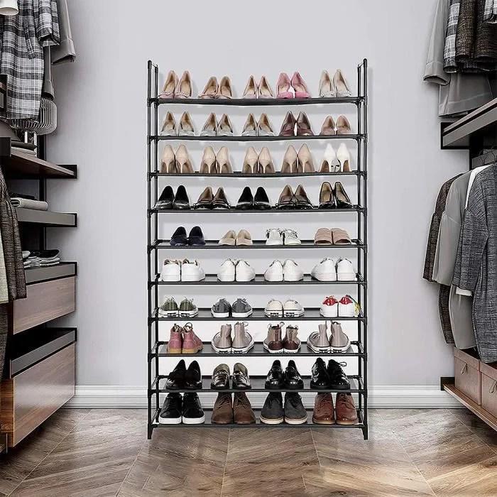 meuble a chaussures 10 etageres modulables structure en acier 100 cm x30 cm x 176 cm noir
