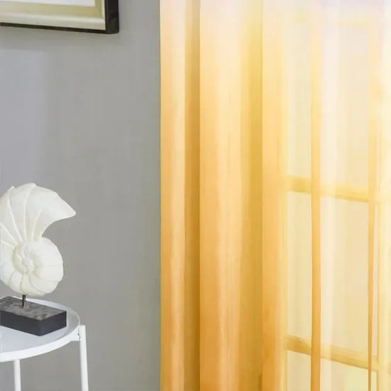 lot de 2 voilage noel 140x160cm jaune moutarde en degrade a oeillets pour maison salon chambre moderne topfinel