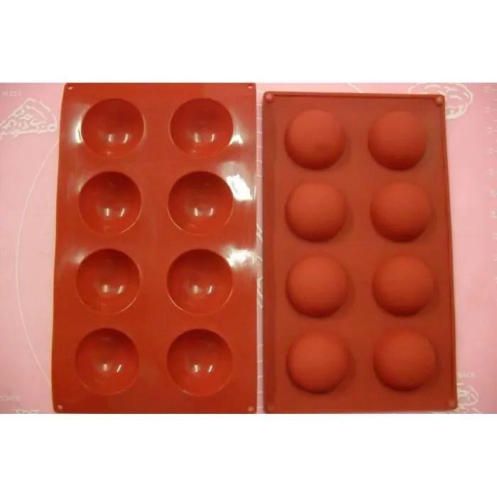 moule silicone souple 8 petits fours demi sphere 27 x 16 cm