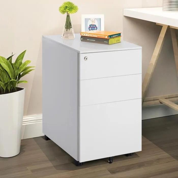 caisson de bureau armoire de rangement 39 x 48 x 60 cm caisson a roulettes avec tiroirs verrouillable et classeur en acier blanc