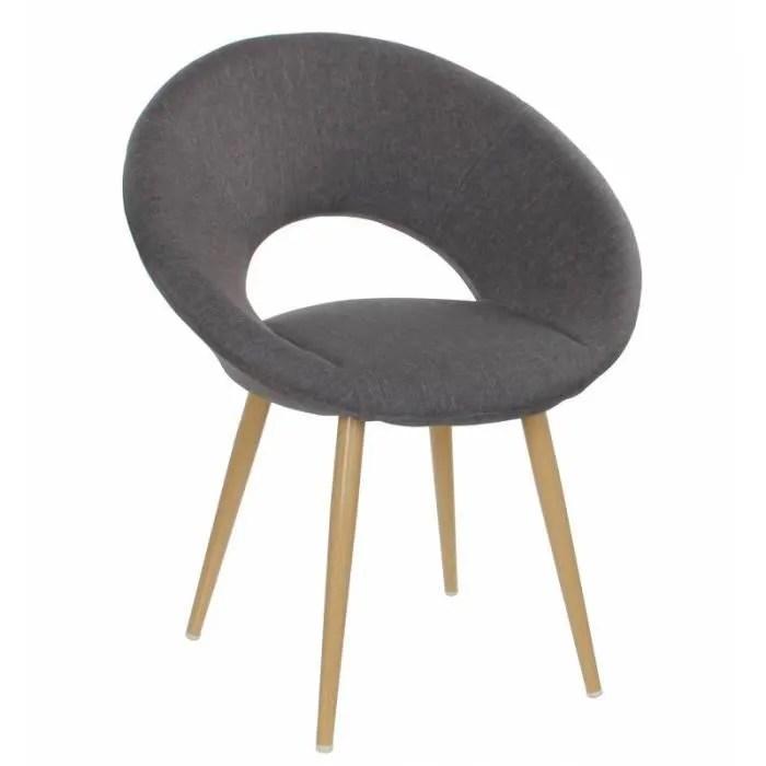 chaise design fauteuil siege assise sejour scandinave en bois et tissu gris 55 5x62x79cm