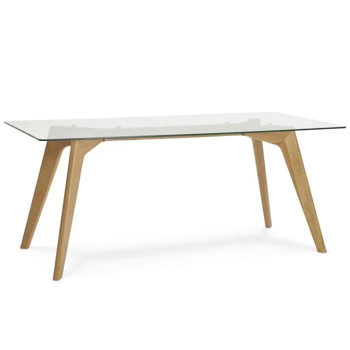table a manger scandinave en verre 90 x 180 x 75 cm