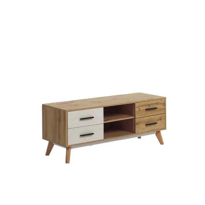 beliani meuble tv blanc et bois clair florida