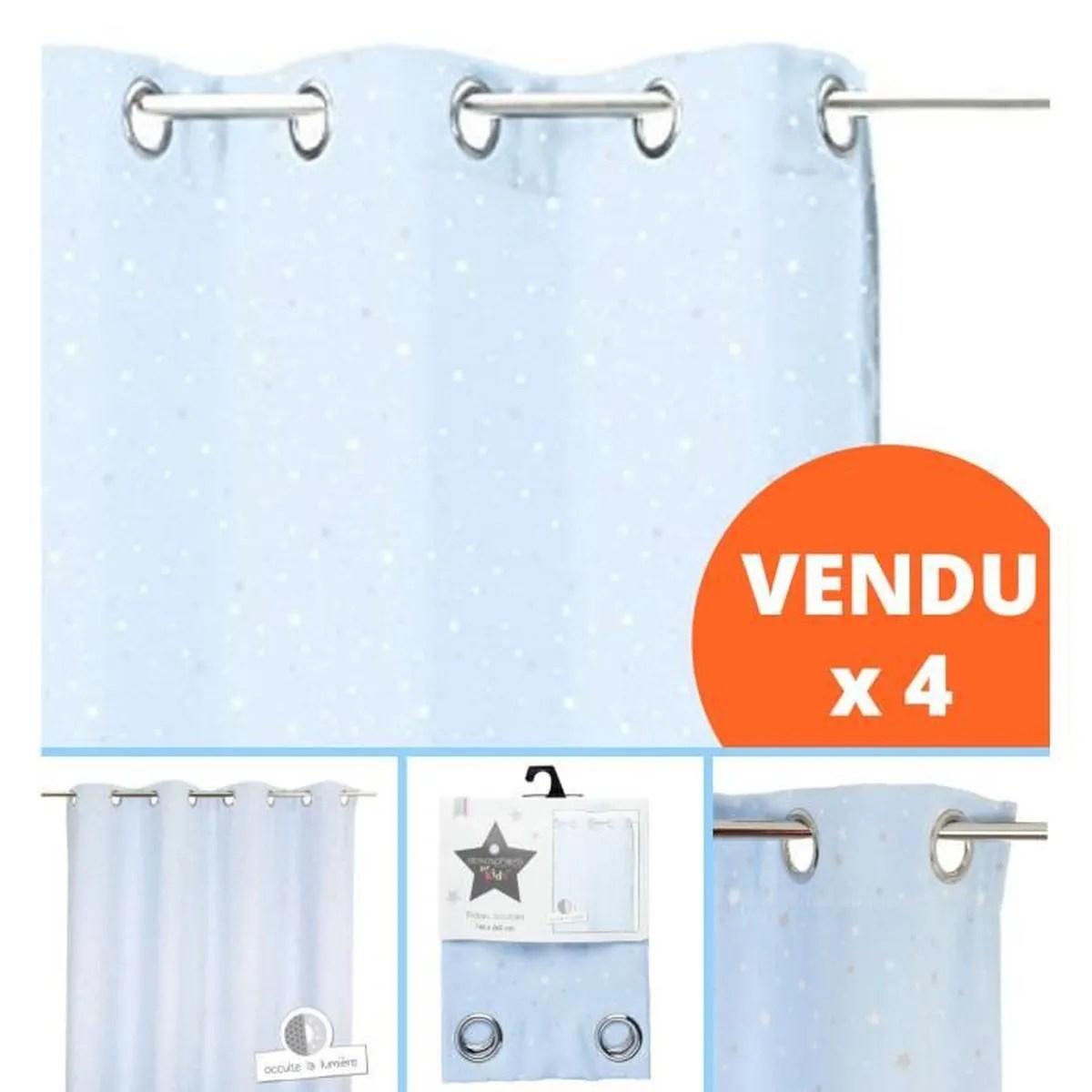 lot de 4 rideau occultant bleu clair