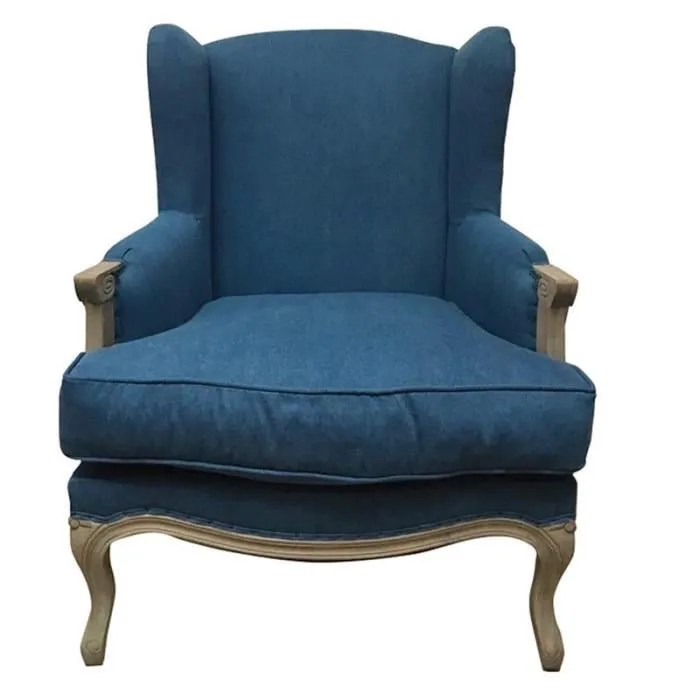 fauteuil bergere louis xv 74x100x85cm 74cm bleu