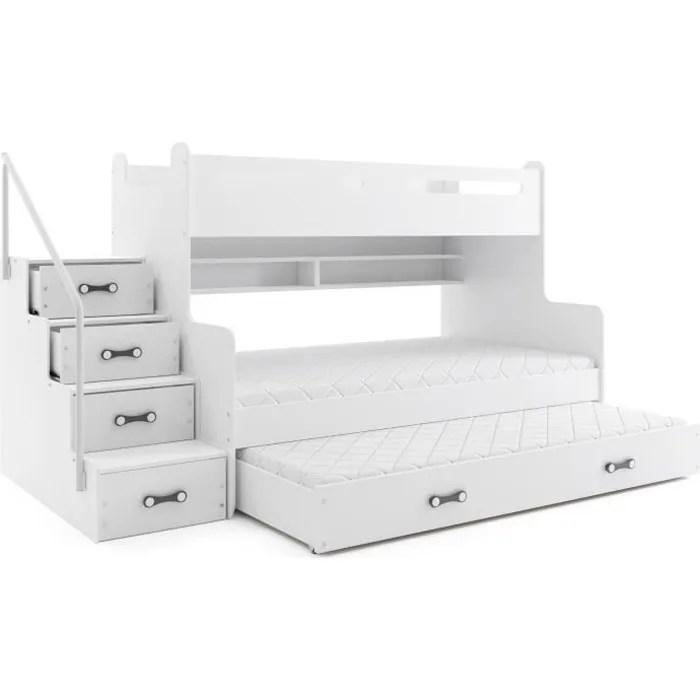 lit superpose max 3 pour 4 personnes 200x120 200x80 et dans le tiroir lit 190x80 avec matelas et sommiers blanc blanc