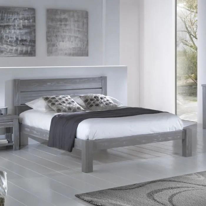 cadre tete de lit 160 200 cm bois massif gris gabriel l 173 x l 214 x h 35 93