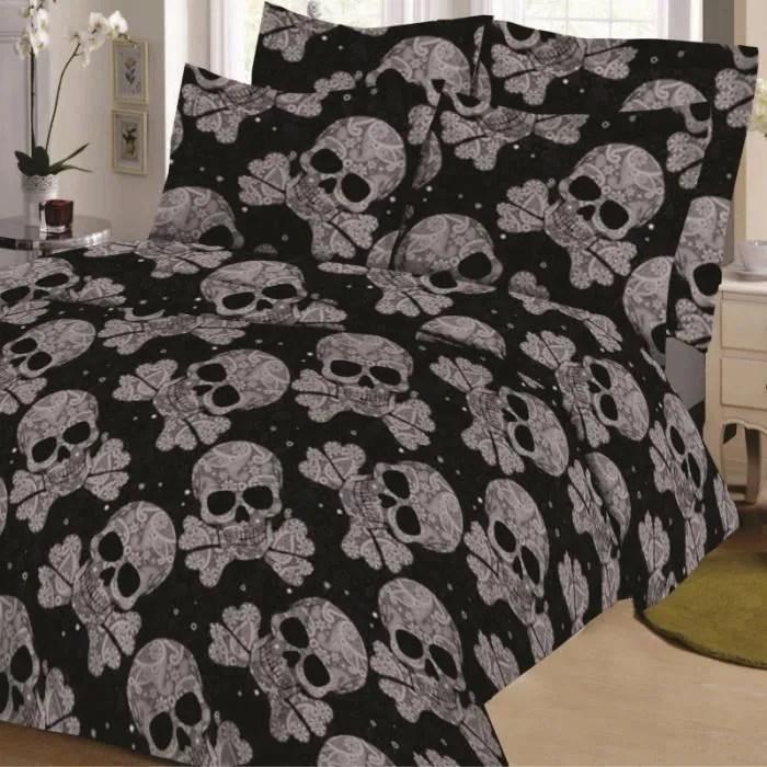 Parure De Draps Tetes De Mort Noir Pour Lit De 160 X 200 Cm 4 Pieces Si Cdiscount Maison