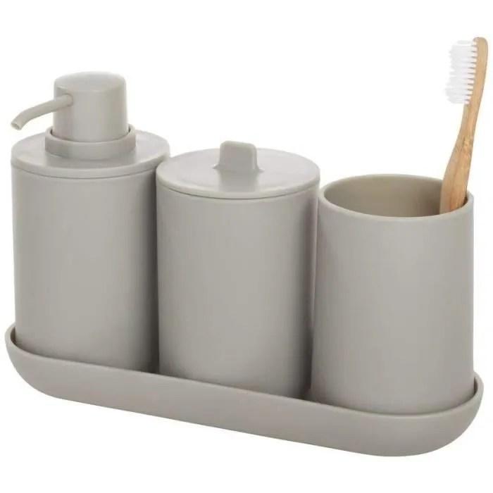 set de rangement accessoire salle de bain 4 pieces avec distributeur savon verre a dents boite a coton et plateau en