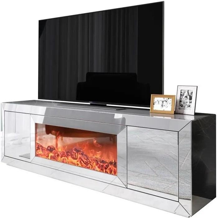 meuble tv design avec cheminee