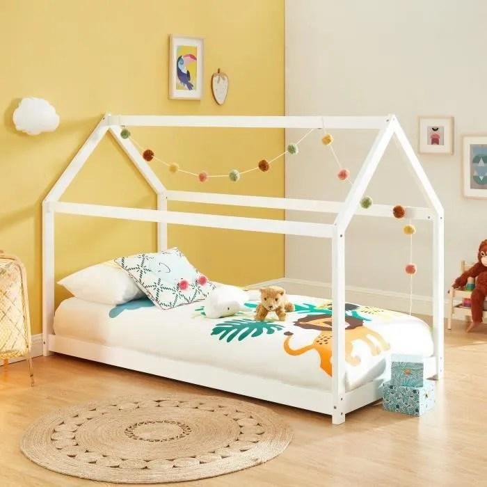 tiny lit enfant cabane bois massif de pin blanc