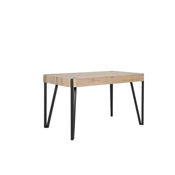 beliani table bois clair noir 130x80 cm cambell