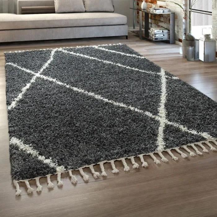 tapis shaggy gris salon poils longs anthracite mot