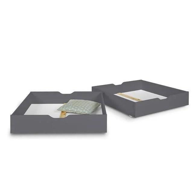 lot de 2 tiroirs pour lit superpose aaron anthracite 90x190 cm