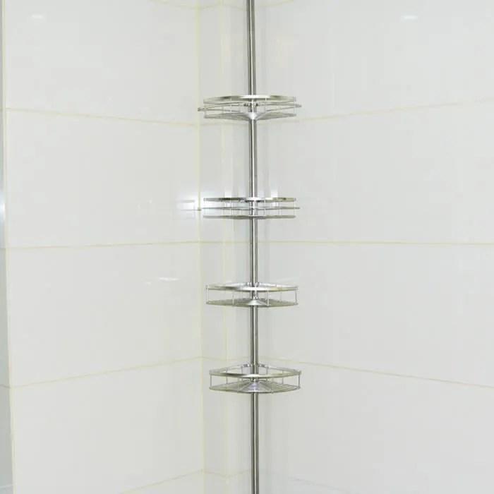 poteau reglable 4 etagere de douche telescopique pour ranger shampooing savon serviteur de douche salle de bain