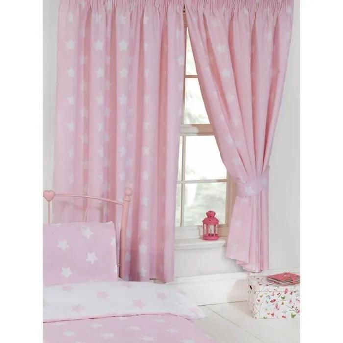 rose et blanc etoiles rideaux doubles 54