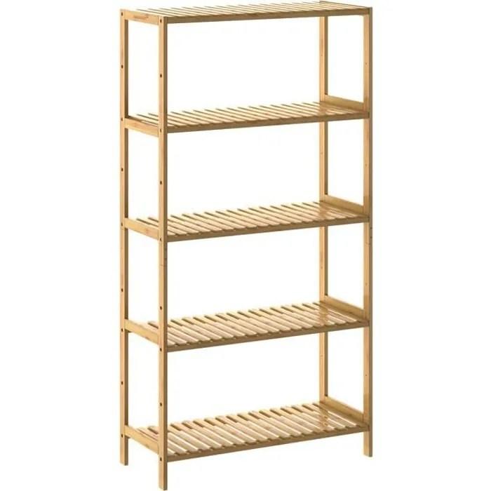 etagere de rangement en bambou 130x60x26 cm 5 niveaux reglables en hauteur charge max 50 kg