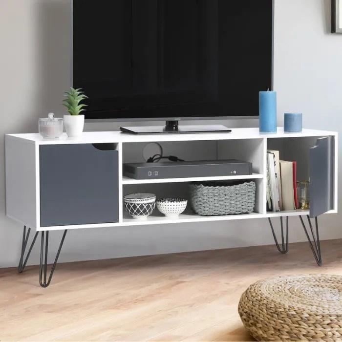 meuble tv vintage noemi pied epingle blanc portes